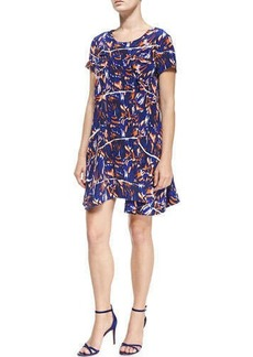 Kenzo Short-Sleeve Torn Flowers-Print Dress  Short-Sleeve Torn Flowers-Print Dress