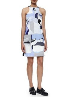 Kenzo Sleeveless Paper-Print Zip-Front Shift Dress  Sleeveless Paper-Print Zip-Front Shift Dress