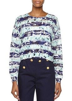 Kenzo Striped Floral Long-Sleeve Top