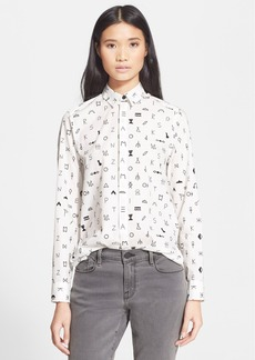 KENZO Symbol Print Long Sleeve Cotton Shirt
