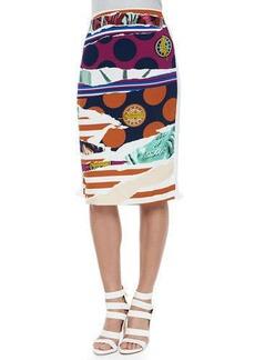 Kenzo Torn-Paper-Print Pencil Skirt