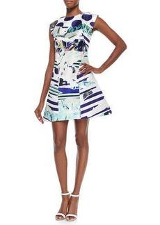 Kenzo Torn Paper Printed Satin Dress