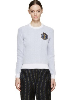 Kenzo White & Blue Knit Crest Sweater