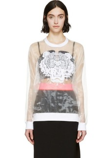 Kenzo White Organza Embroidered Tiger Crewneck