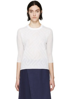 Kenzo White Ribbed Sheer Ottoman Sweatshirt