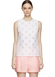 Kenzo White Sheer Striped & Dotted Tank Top