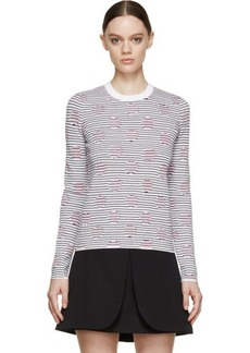 Kenzo White Striped Polka Dot Crewneck Sweater