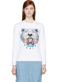 Kenzo White Tiger Sweatshirt With Multi Tiger Print
