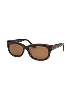 Kenzo Women's Ecaille Rectangle Dark Havana Sunglasses