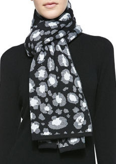 Leopard Knit Scarf, Black/Gray   Leopard Knit Scarf, Black/Gray