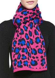 Leopard Knit Scarf, Fuchsia/Blue   Leopard Knit Scarf, Fuchsia/Blue