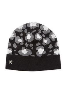 Leopard-Print Knit Beanie, Black   Leopard-Print Knit Beanie, Black