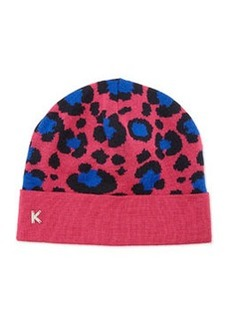 Leopard-Print Knit Beanie, Fuchsia   Leopard-Print Knit Beanie, Fuchsia