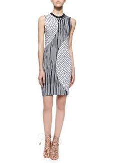 Mixed-Print Knit Sheath Dress   Mixed-Print Knit Sheath Dress