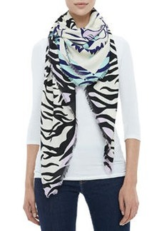 New Tiger Head & Stripes Scarf, Ivory/Black   New Tiger Head & Stripes Scarf, Ivory/Black
