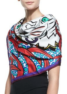 New Tiger-Head Silk Scarf, Red   New Tiger-Head Silk Scarf, Red