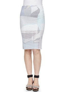 Paper-Print Perforated Pencil Skirt   Paper-Print Perforated Pencil Skirt