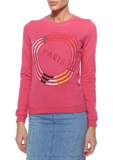 Paris Textured Sweatshirt, Fuchsia   Paris Textured Sweatshirt, Fuchsia