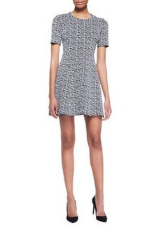 Printed Tech-Knit Flare Dress   Printed Tech-Knit Flare Dress