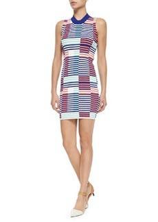 Sleeveless Ribbed Intarsia Dress   Sleeveless Ribbed Intarsia Dress