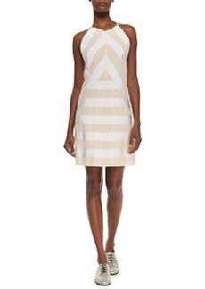 Sleeveless Ribbon Dress W/ Solid Back   Sleeveless Ribbon Dress W/ Solid Back