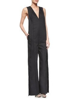 Sleeveless V-Neck Wide-Leg Jumpsuit   Sleeveless V-Neck Wide-Leg Jumpsuit