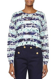 Striped Floral Long-Sleeve Top   Striped Floral Long-Sleeve Top