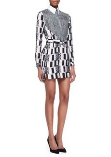 White Noise Printed Shirtdress   White Noise Printed Shirtdress