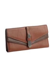 Kooba dark khaki leather trifold continental wallet