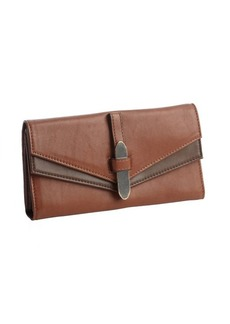 Kooba dark khaki leather trifold continental wallet