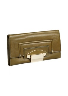 Kooba dark olive supple leather foldout flip lock continental wallet