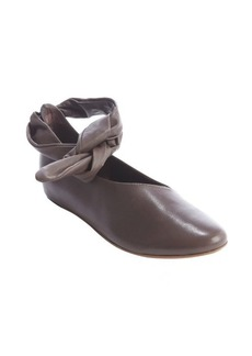 Kooba dark taupe leather 'Clarissa' flat with ankle tie