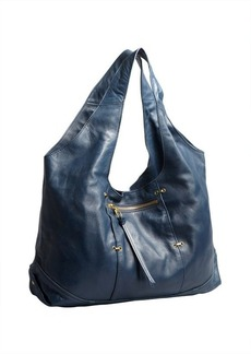 Kooba denim blue leather 'Owen' zip pocket hobo
