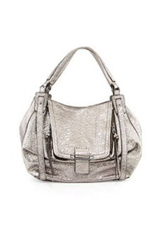 Kooba Jonnie Metallic Woven Shoulder Bag, Gunmetal