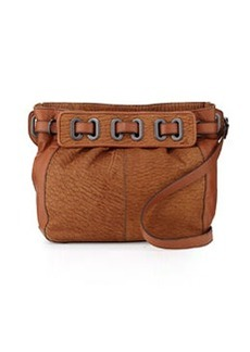 Kooba Jordyn Veined Leather Crossbody Bag, Tan/Amber