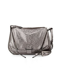 Kooba Leroy Metallic Woven Leather Messenger Bag, Gunmetal