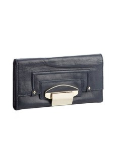 Kooba navy leather foldout flip lock continental wallet