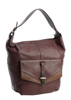 Kooba plum leather 'Bedford' flap pocket shoulder bag