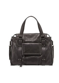 Kooba Rhodes Grained Leather Satchel Bag, Black