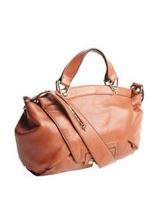 Kooba sienna brown leather 'Leonard' foldover top handle bag