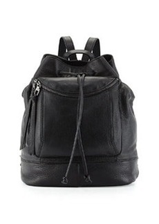 Kooba Steinbeck Leather Drawstring Backpack, Black