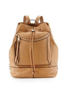 Kooba Steinbeck Leather Drawstring Backpack, Camel