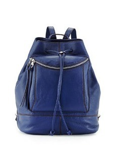 Kooba Steinbeck Leather Drawstring Backpack, Washed Denim