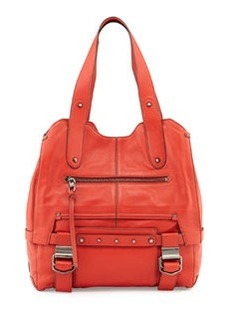 Kooba Wyatt Studded Buckle Tote Bag, Scarlet