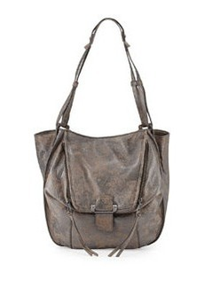 Kooba Zoey Distressed Metallic Leather Tote Bag, Gunmetal