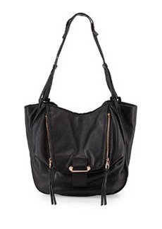 Kooba Zoey Slouchy Pebbled Leather Tote Bag, Black