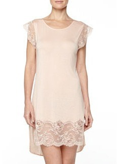 Begonia Cap-Sleeve Lace-Trimmed Short Gown, Powder   Begonia Cap-Sleeve Lace-Trimmed Short Gown, Powder