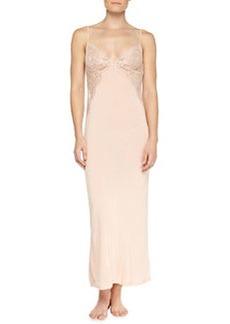 Begonia Lace-Inset Long Gown, Powder   Begonia Lace-Inset Long Gown, Powder