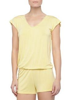 La Perla Rosa Short Lace Knit Jumpsuit, Limon