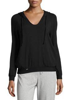 La Perla Scoop-Neck Hooded Sweatshirt, Black